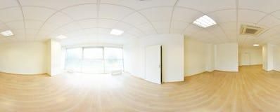 Sfäriska 360 grader panoramaprojektion, i inre tömmer rum i moderna plana lägenheter Royaltyfri Fotografi