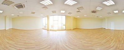 Sfäriska 360 grader panoramaprojektion, panorama i inre tömmer rum i moderna plana lägenheter Royaltyfri Foto
