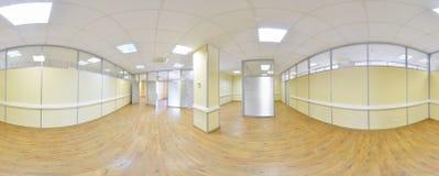 Sfäriska 360 grader panoramaprojektion, panorama i inre tömmer rum i moderna plana lägenheter Arkivfoto