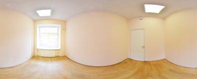 Sfäriska 360 grader panoramaprojektion, panorama i inre tömmer rum i moderna plana lägenheter Royaltyfri Fotografi