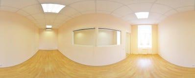 Sfäriska 360 grader panoramaprojektion, panorama i inre tömmer rum i moderna plana lägenheter Arkivfoton