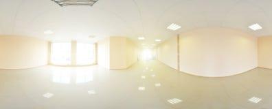 Sfäriska 360 grader panoramaprojektion, panorama i inre tömmer rum i moderna plana lägenheter Arkivbild