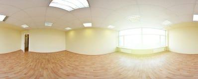 Sfäriska 360 grader panoramaprojektion, panorama i inre tömmer rum i moderna plana lägenheter Royaltyfria Bilder