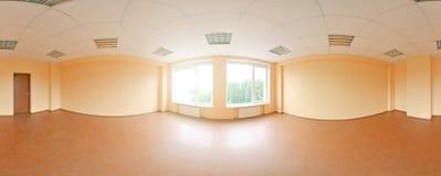 Sfäriska 360 grader panoramaprojektion, panorama i inre tömmer rum i moderna plana lägenheter Arkivbilder