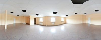 Sfäriska 360 grader panoramaprojektion, panorama i inre tom rumreparationsgarnering i moderna plana lägenheter Fotografering för Bildbyråer