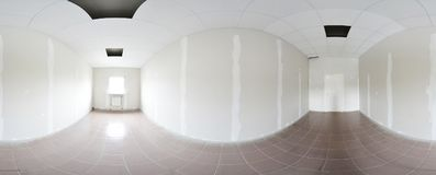 Sfäriska 360 grader panoramaprojektion, panorama i inre tom rumreparationsgarnering i moderna plana lägenheter Arkivfoto