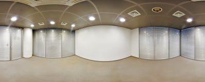 Sfäriska 360 grader panoramaprojektion som är inre tömmer rumkontoret i moderna plana lägenheter Arkivfoton