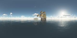 Sfäriska 360 grader sömlös panorama med ön och portugiscaravel av det femtonde århundradet Royaltyfria Bilder