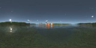 Sfäriska 360 grader sömlös panorama med badningkvinnor och ställa i skuggan på en flotte Arkivbilder