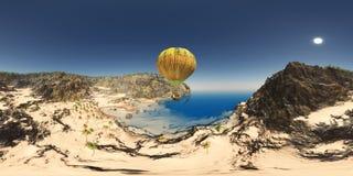 Sfäriska 360 grader sömlös panorama a med ballongen för varm luft för fantasi över ett kust- landskap Arkivfoton