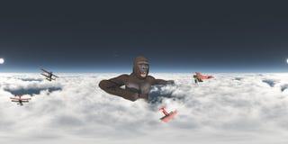 Sfäriska 360 grader sömlös panorama med den jätte- gorillan och biplaner Royaltyfri Foto
