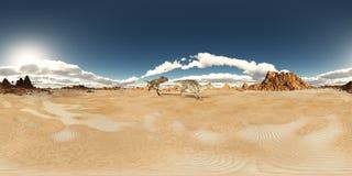 Sfäriska 360 grader sömlös panorama med dinosaurierna Nanotyrannus och Velafrons Royaltyfri Foto