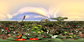 Sfäriska 360 grader sömlös panorama med dinosaurierna Yangchuanosaurus och Coelophysis Royaltyfri Bild