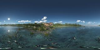 Sfäriska 360 grader sömlös panorama med dinosaurietyrannosarien Rex på havet Arkivbild