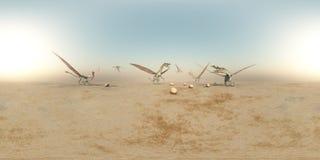 Sfäriska 360 grader sömlös panorama med drakar i ett landskap Arkivfoton