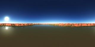 Sfäriska 360 grader sömlös panorama med en ökenoas Royaltyfri Foto