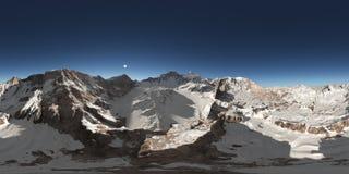 Sfäriska 360 grader sömlös panorama med en bergpanorama Royaltyfri Foto