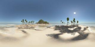 Sfäriska 360 grader sömlös panorama med en ensam ö Arkivbild
