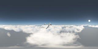 Sfäriska 360 grader sömlös panorama med en glidflygplan över molnen Royaltyfri Fotografi