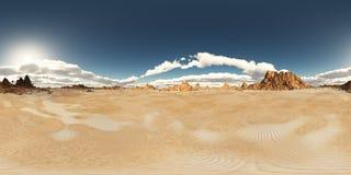 Sfäriska 360 grader sömlös panorama med ett ökenlandskap Arkivfoton