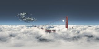 Sfäriska 360 grader sömlös panorama med ett enormt rymdskepp över Golden gate bridge Royaltyfri Foto