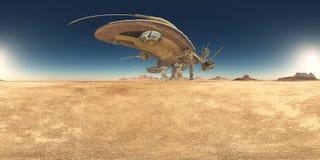 Sfäriska 360 grader sömlös panorama med ett enormt rymdskepp i en öken stock illustrationer
