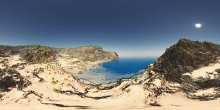 Sfäriska 360 grader sömlös panorama med ett kust- landskap Royaltyfria Foton