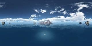 Sfäriska 360 grader sömlös panorama med fantasiubåten och den förhistoriska fisken Rhizodus Arkivbilder