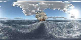Sfäriska 360 grader sömlös panorama med HMS-segern i det stormiga havet Arkivbilder