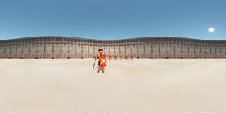 Sfäriska 360 grader sömlös panorama med legionärer i Colosseumen i forntida Rome Royaltyfri Fotografi