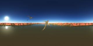 Sfäriska 360 grader sömlös panorama med pterosauren Peteinosaurus över en ökenoas Royaltyfri Fotografi