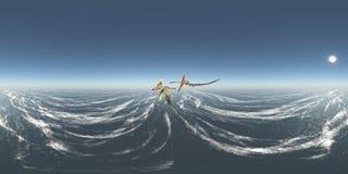 Sfäriska 360 grader sömlös panorama med pterosauren Thalassodromeus över havet Arkivfoto