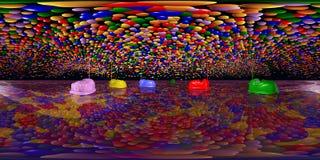 Sfäriska 360 grader sömlös panorama med radiobiler och leksaken sväller royaltyfri illustrationer