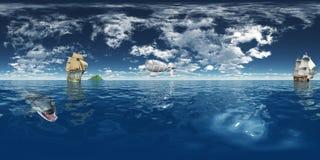 Sfäriska 360 grader sömlös panorama med seglingskepp och fantasiluftskeppet Royaltyfria Bilder