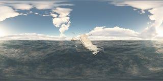 Sfäriska 360 grader sömlös panorama med spermavalet och valfångstskeppet Royaltyfri Bild