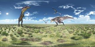 Sfäriska 360 grader sömlös panorama med Tyrannotitan och Quetzalcoatlus Royaltyfri Foto