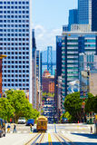 SF Bay Bridge Cable Car California Street Downtown Stock Images