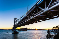 SF Bay Bridge at Sunset Royalty Free Stock Images