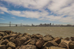 SF Bridge and skyline. San Francisco skyline view from treasure island Stock Photo