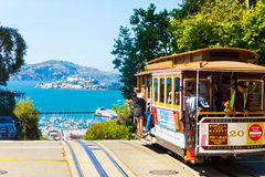 SF Cable Car Hyde St Crest Hill View Alcatraz H Stock Image