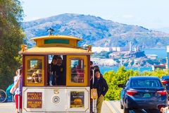 SF Cable Car Top Hyde Street Overlooking Alcatraz Royalty Free Stock Photo