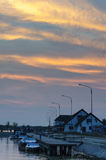 Sf.Gheorghe-Romania. After sunset in Sfantu Gheorghe, Romania stock photo