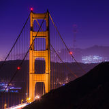 SF Golden Gate Bridge and Sutro Tower at Night Royalty Free Stock Photography