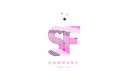 Sf s f alphabet letter logo pink purple line icon template vecto Royalty Free Stock Images