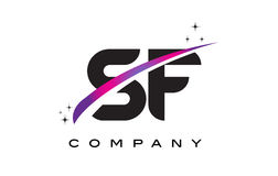SF S F Black Letter Logo Design with Purple Magenta Swoosh Royalty Free Stock Images