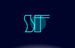 Sf s f blue line circle alphabet letter logo icon template vecto Stock Images