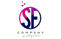 SF S F Circle Letter Logo Design with Purple Dots Bubbles Royalty Free Stock Image