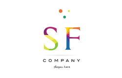 Sf s f  creative rainbow colors alphabet letter logo icon Royalty Free Stock Photography