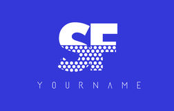 SF S F Dotted Letter Logo Design with Blue Background. Royalty Free Stock Photography