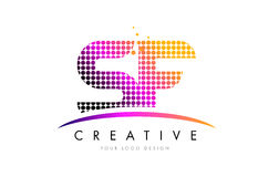 SF S F Letter Logo Design with Magenta Dots and Swoosh Stock Photography